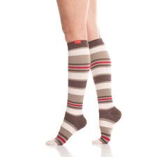 Vim & Vigr Women's Compression Socks Nautical Stripes Brown Plush Large