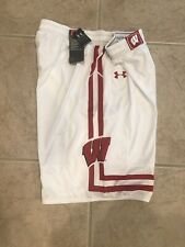 🔥RARE $75 NWT UNDER ARMOUR WISCONSIN BADGERS WHITE BASKETBALL SHORTS MENS LARGE