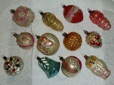 12 Antique Vtg German X-Mas Tree Ornaments: Bell, Owl, Butterfly, Baby Jesus