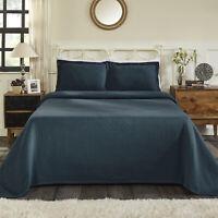 Basket Jacquard Matelasse Cotton Black Bedspread Set by Blue Nile Mills