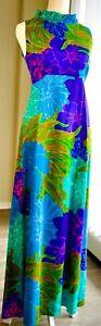 60s 70s Vtg Hawaiian Psychedelic lGarden Maxi Dress OpArt Ludy's Barkcloth Hippy