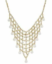 Ralph Lauren Gold Tone JAIPUR Faux Pearl Teardrop Mesh Bib Necklace $128 NEW