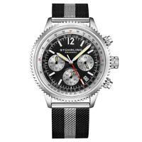 Stuhrling 3976 1 Quartz Chronograph Black Colored Date Mesh Bracelet Mens Watch