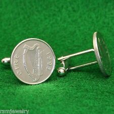 Irish Celtic Harp Coin Cufflinks, 5 Pence (Small) Ireland