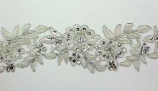 "Handmade Embroidered Corded Beaded Edging Motifs Trim 3 "" width M Silver #15"