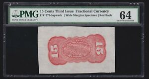 US Fractional Currency Specimen Red Back spwmb FR 1273-5 PMG 64 Ch CU -001