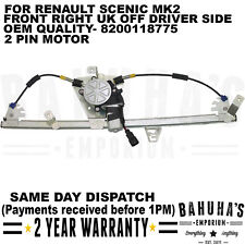 WINDOW REGULATOR- FOR RENAULT SCENIC MK2 2003>ON FRONT RIGHT SIDE W/ 2 PIN MOTOR