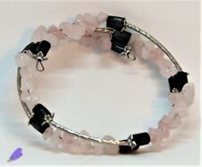Bracciale Donna, hand-made, Pietre Dure: Quarzo Rosa Magnetite, acciaio armonico