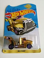 HOT WHEELS RIG STORM GOLD Golden HW NEW ON CARD in hard box 24k