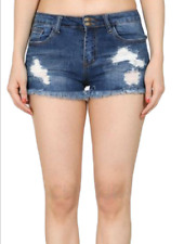 NEW WOMENS RIPPED SHORTS STRETCHY SOFT DENIM JEANS SHORTS SIZES 6 8 10 12 14 16