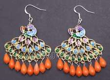 SALE 40mm Multicolor Peafowl Pendant and Pink drop coral dangle earring-ear417
