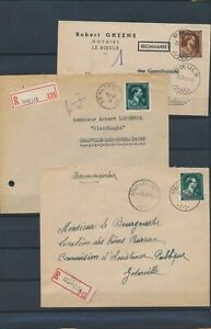 XC59442 Belgium 1945 registered covers with nice cancels used