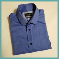 Zara Man Periwinkle Blue Long Sleeve Slim Fit Dress Shirt | Men's S