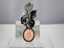 Kette mit Anhänger Perli Silber Blume mit Perle und Koralle geschnitzt 925 Pe