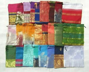 25 x Recycled Pouches Party, Favor, Wedding Bags Sari Fabric Pouches 6 Inches
