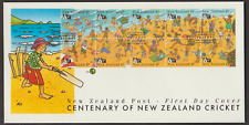 NEW ZEALAND 1994 CENTENARY OF NZ CRICKET BOOKLET STAMP FDC FACE VALUE NZ$4.50