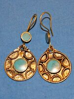 "Earrings Circle Turquoise or Malachite Afghan Kuchi Tribal Alpaca Silver 1 1/2"""