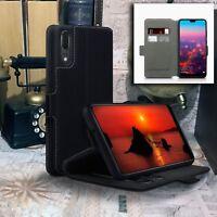 Huawei P20 LITE.   Low Profile Leather Black Folio Book Case Wallet. Promax™