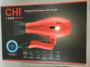 Brand New CHI 1400 Series Foldable Compact Hair Dryer Rapid Clean (RED)