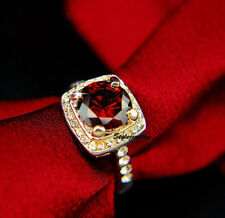 Rose Gold Plated Ruby Red Square Crystal Garnet Engagement Ring Size 8 R96
