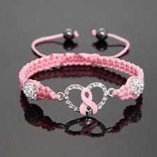 Hot Shamballa Crystal Pink Ribbon Breast Cancer Awareness Bracelet Gift jewelery