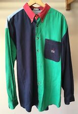 Vintage Nautica JUS2 Green Blue Red Color Block Long Sleeve Button Down XL Shirt