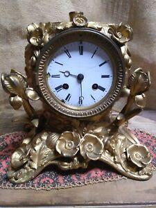 Antique French Art Nouveau Clock ormolu brass spelter iron gold Lamp Base rare