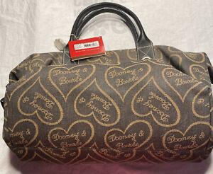 Dooney & Bourke Retired Charcoal W/ Gold Hearts Print Zip Top Medium Duffle Bag