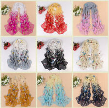 Fashion Women's Chiffon Scarf Butterfly Floral Soft Wrap  Lady Long Shawl