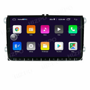 """2 Din 9"""" Touch Screen Car Radio GPS Sat Nav Stereo FM WiFi MP5 Player For VW"""