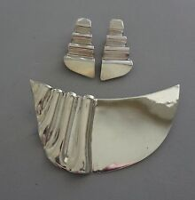 Pin & Earring Set - 45.7 Gr Modernist Taxco Sterling 925 Textured Ribbed Pleated