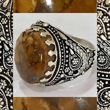 Silver Yemeni snake skin Onyx Men Ring, aqeeq, Rare, جزع يماني جلد الثعبان نادر