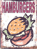 HAMBURGERS METAL SIGN  RETRO VINTAGE STYLE,fast food,cafe,bistro,restaurant,pub