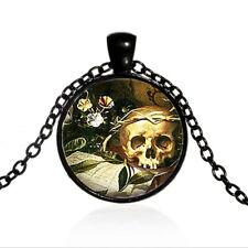 Vintage Steampunk Goth Skull Cabochon Black Glass Chain Pendant Necklace