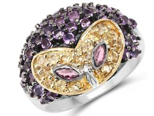 2.10CT Citrine & Amethyst 935 Argentium Silver Women's Owl Desing Ring