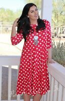 PLUS SIZE CLASSY RED POLKA DOT PLEATED BOHO CAREER SHIFT USA MIDI DRESS 1X 2X 3X