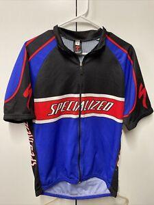SPECIALIZED Short Sleeve Cycling Jersey blue/Black Full Zip Bike Shirt Size XL