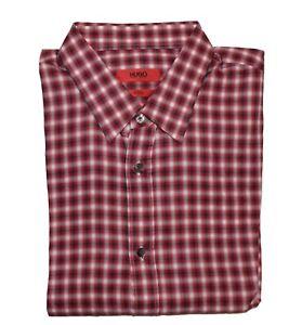 Hugo Boss Elisha Men's Shirt Slim Fit Cotton Shirt Size M BNWT