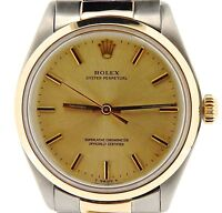 Mens Rolex 14K Yellow Gold/Stainless Steel Oyster Perpetual Watch Champagne 1002