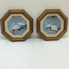 2 Vintage 1984 Homco Swan Wall Pictures Gold Octagon Frame #3248
