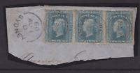 NSW RARE 1860 2d Pale Blue QV DIADEM STRIP (3) ON PIECE SG 133 CV$800+ (KA36)