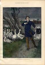 Theater-Laienschauspieler-Schauspieler-Gänse-Gans Kol. Holzstich 1883