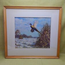 """Richard E Bishop Artist Pheasant in Flight 19 x 21"""" Framed and Matted"""