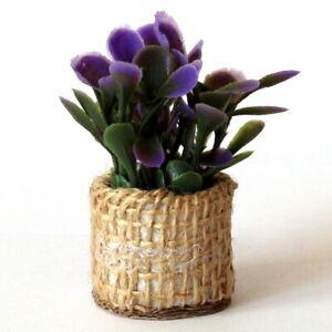 Miniature boho plant with pot for dolls house, tiny fake flower mini garden prop