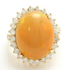 9.70 Carat Natural Ethiopian Opal and Diamonds 14K Solid Yellow Gold Women Ring