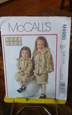 Oop Mccalls 4960 girls fake fur winter jacket suit dress very cute sz 1-4 NEW