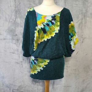 TRAFFIC PEOPLE green floral batwing elasticated waist tunic top womens Small