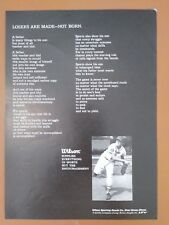 """1969 Wilson Sports Baseball Vintage Print Ad """"Losers are Made - Not Born"""""""