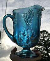 VTG Indiana Carnival Glass Harvest Grapes Leaves Blue Iridescent Pitcher or vase