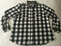 OLD NAVY Plaid Flannel Shirt Buffalo Black White Check Women Size XL Cotton EUC